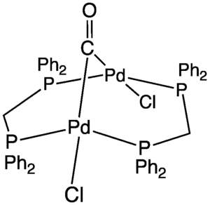 A-frame complex - The A-frame complex Pd2Cl2(CO)(dppm)2.