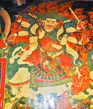 Gyalpo Pehar - Mural of Pehar in the assembly hall of Nechung Monastery.