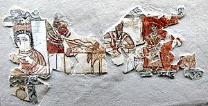 Saudi Arabia - Fragment of a wall painting showing a Kindite king, 1st century CE
