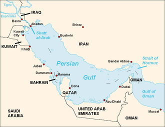 2007 Iranian arrest of Royal Navy personnel - Map of the Persian Gulf