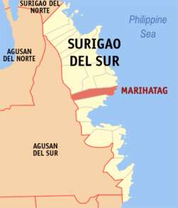 Map of Surigao del Sur with Marihatag highlighted