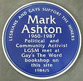 Photo of plaque commemorating the life of Mark Ashton 01.jpg