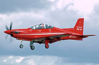 Pilatus PC-21 - The PC-21 demonstrator lands at RIAT 2008, England.