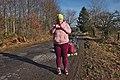 Pink human taking a peanut butter break in Fagne Tirifaye, Waimes, Belgium (VeloTour intersection 80, DSCF3627).jpg