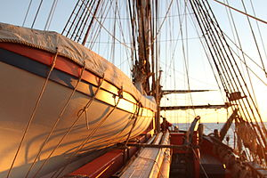 Pinnace (ship's boat) - Pinnace on board the HM Bark Endeavour Replica at sunrise