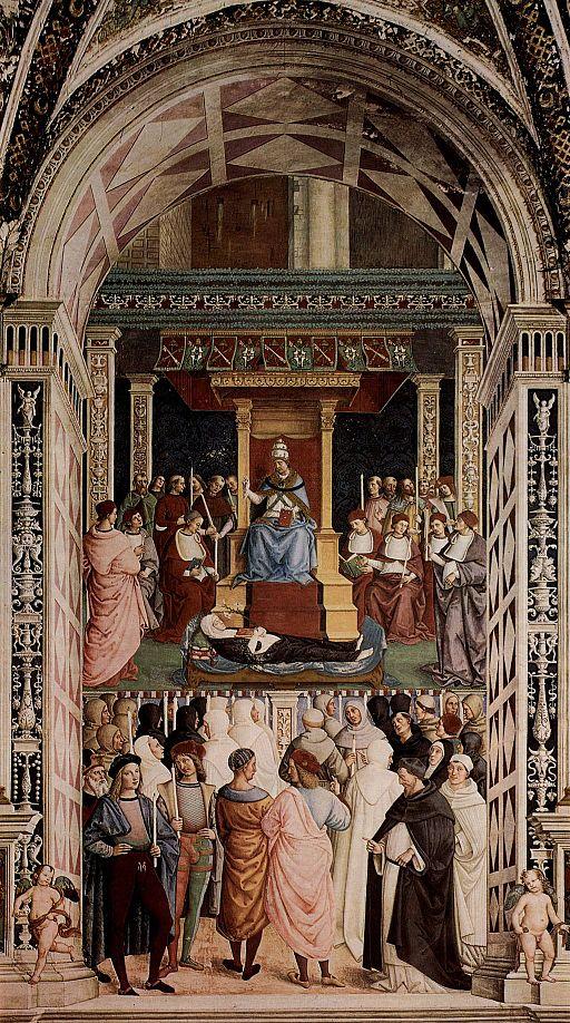 Pinturicchio, Libreria Piccolomini, Pio II canonizza santa Caterina da Siena