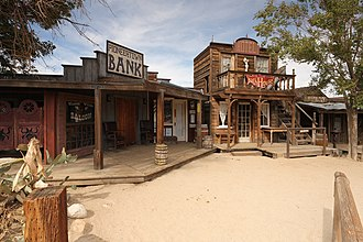 Pioneertown, California - Saloon, bank, bath house and livery stables on Mane Street, Pioneertown, CA