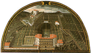 Palazzo Pitti - A lunette painted in 1599 by Giusto Utens, depicts the palazzo before its extensions, with the amphitheatre and the Boboli Gardens behind. The red stone excavated from the site was used in extensions to the palazzo.