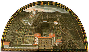 Veduta di Palazzo Pitti e Boboli nella lunetta di Giusto Utens del 1599 (Museo di Firenze com'era, Firenze)