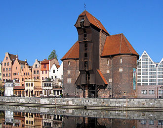 Hanseatic League - The old and rich port city of Danzig (Gdańsk) in Poland. View of the Krantor (crane gate)