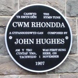 Cwm Rhondda - Plaque at Capel Rhondda, Hopkinstown