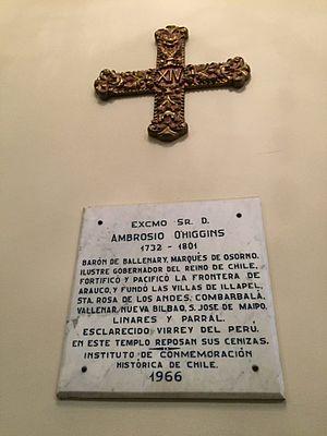 Ambrosio O'Higgins, 1st Marquis of Osorno - Memorial plaque, Lima