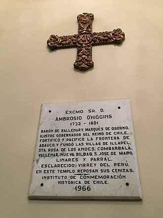 Ambrosio O'Higgins, 1st Marquess of Osorno - Memorial plaque, Lima