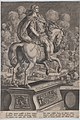 Plate 6- equestrian statue of Nero, seen from behind, the Great Fire of Rome in the background, from 'Roman Emperors on Horseback' MET DP877295.jpg