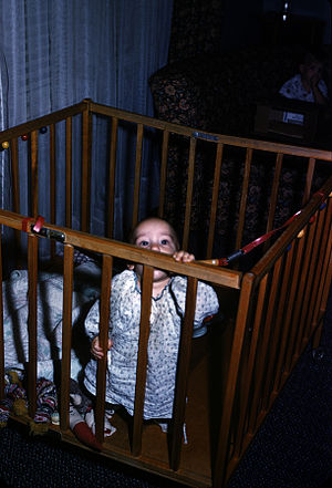 A baby in a playpen.
