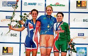 2008 UEC European Track Championships - Podium of the Women's under-23 points race: 1) Ellen van Dijk, 2) Lizzie Armitstead, 3) Aksana Papko