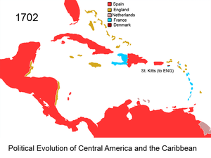 Territorial evolution of the Caribbean - Image: Political Evolution of Central America and the Caribbean 1702 na