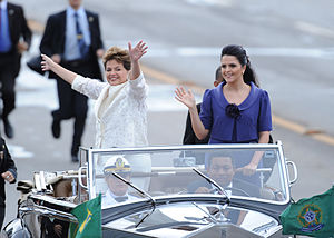 First inauguration of Dilma Rousseff - Rousseff parades in the presidential Rolls Royce next to her daughter Paula Rousseff.