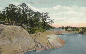 John Frederick Kensett - Postcard c.1914, of Contentment Island. By the early 1870s Kensett was spending considerable time at his home on Contentment Island, on Long Island Sound near Darien, Connecticut.