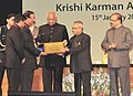 Pranab Mukherjee presented the Krishi Karman Awards 2011-12 to State Governments for exemplary performance in increasing food grain production, at a function, at Rashtrapati Bhawan.jpg