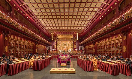 Buddhist monks and nuns praying in the Buddha Tooth Relic Temple of Singapore Praying monks and nuns in the Buddha Tooth Relic Temple of Singapore.jpg