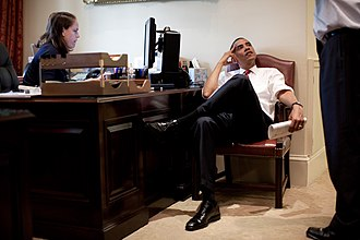 Katie Johnson (presidential secretary) - Image: President Barack Obama listens to Senior Advisor David Axelrod in the outer Oval Office on June 26, 2009
