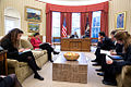 President Barack Obama talks on the phone with Chancellor Angela Merkel of Germany in the Oval Office.jpg