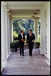 President Ronald Reagan walking and talking with republican senator Donald Nickles of Oklahoma.jpg