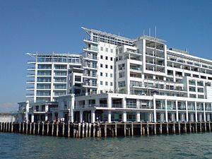 Princes Wharf - The two 'ship's prows' of the wharf as seen from Waitematā Harbour.