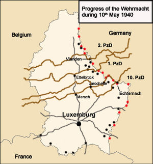 German invasion of Luxembourg - Map showing the German invasion routes