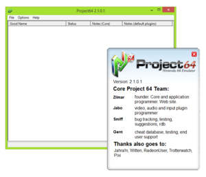 Project64 2.1.0.1 running on Windows 8.1