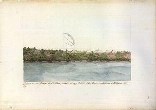 Prospecto da nova povoação de Santa Maria situada na margem oriental do Rio Branco, na distância de 75 léguas da sua foz