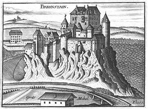Burg Pürnstein um 1674, Stich von G.M.Vischer