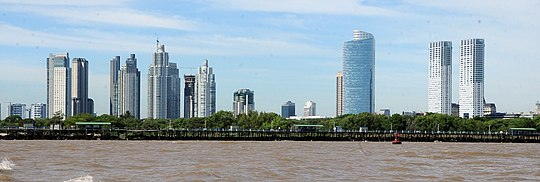 Puerto Madero currently represents the largest urban renewal project in the city of Buenos Aires. Having undergone an impressive revival in merely a decade, it is one of the most successful recent waterfront renewal projects in the world. Puerto Madero panoramic.jpg
