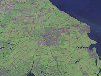 Purmerend - Satellite photo of the city of Purmerend. (centered)