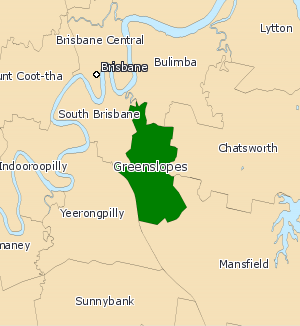 Electoral district of Greenslopes - Greenslopes electoral map 2008