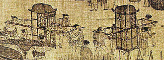 Choe Bu - A scene from a 12th-century painting by the Song dynasty artist Zhang Zeduan, showing people carried in Chinese litters, the same which Choe and his officers were carried around in while traversing through Zhejiang