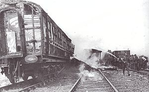 Quintinshill rail disaster - The burned out remains of a carriage at the disaster scene.