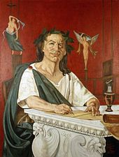 A painting of a man in a toga, looking forward and smiling; he is holding a writing utensil.