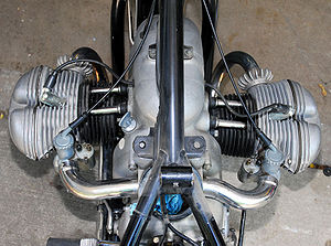 Flat engine - 1954 BMW R68 engine. The two cylinders are offset.