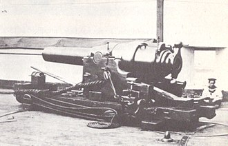 RBL 7 inch Armstrong gun - A gun on a wooden slide carriage in the 19th century.