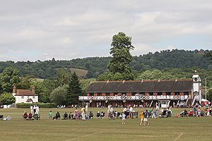 Royal Grammar School, Guildford - View towards the First XI cricket pitch and clubhouse at the school playing fields, Bradstone Brook.