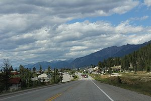 Radium Hot Springs - Looking north on BC93 / BC95 at Radium Hot Springs