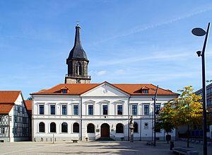 Haldensleben - Market place with town hall and Roland statue
