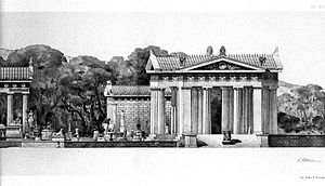 Reconstruction of the tholos (right) at Epidaurus Wellcome L0008306.jpg