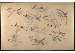 Red Horse pictographic account of the Battle of the Little Bighorn, 1881. 0100