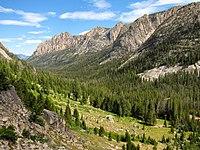 Valley covered in pine trees sweeping below rocky peaks