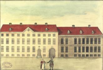 Regensen - Regensen seen from Store Kannikestræde in 1749