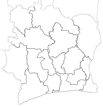 Regions of Ivory Coast - The 16 original regions. These boundaries existed from 1997 to 2000, when three new regions were created.