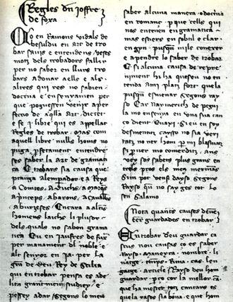 Jofre de Foixà - The Regles de trobar in a Catalan manuscript